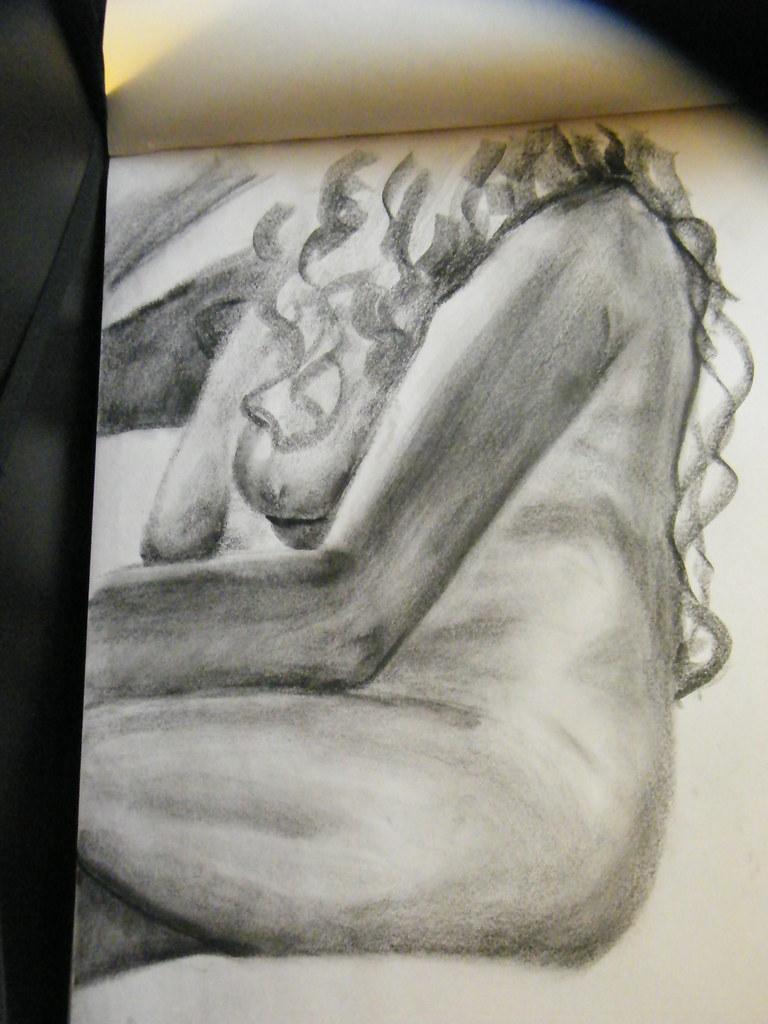 Female side profile nude sketch