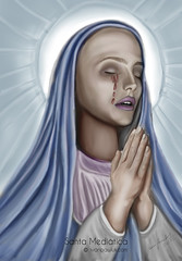 Santa Meditica (PAWLUK IVAN) Tags: santafe art argentina photoshop design arte ar aliens rosario dibujo virgen sangre 121212 llora virgenllora 211212 digitalartgallery ivanpawluk virgenquellorasangre virgensangre