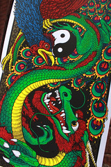 "FENGHUANG & DRAGON ""DARKNESS & LIGHT"" 12 x 24"" - 6 Color Ltd Ed Screen Print @ Gumball Designs - Artist Copies (Gumball Designs) Tags: bird art print dragon reptile beak feathers horns screen lizard karate yang scales kungfu oriental yin fenghuang pheonix cinese"