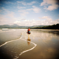 Four Mile Beach (Kerrie McSnap) Tags: sky color colour 120 film beach mediumformat walking square holga lomo lomography toycamera qld queensland portdouglas fourmilebeach farnorthqueensland kodakportra kerriemcsnap