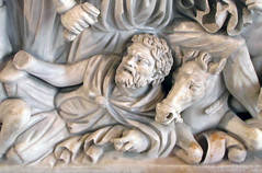 Ludovisi Battle Sarcophagus, detail of fallen man