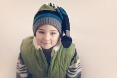 Elf (Rebecca812) Tags: boy portrait white cute hat kid child sweet blueeyes gray elf whitebackground vest greenblue canon5dmarkii rebecca812
