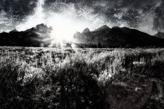 Sun Fell Down, Grand Teton, Wyoming (stewartbaird) Tags: sunset blackandwhite bw usa monochrome nationalpark infrared wyoming grandteton 2012 sxbaird stewartbaird