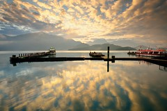 The first sunrise in 2013 @ (Vincent_Ting) Tags: morning blue sunset sky lake reflection nature water misty clouds sunrise dawn pier nikon silent taiwan     sunmoonlake