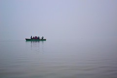 A Boat on The River Ganges (Biswajit_Dey) Tags: life morning winter people woman india mist travelling boat indian varanasi kashi benaras uttarpradesh historicalcity mistymorning thegalaxy riverganges lifeinthemist nikond3100 oldestcontinuouslyinhabitedcitiesintheworld