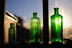 Not To Be Taken (JimCochrane) Tags: sun green window three dof bottles taken backlit wonky nikkor28mmf28ais nottobetaken
