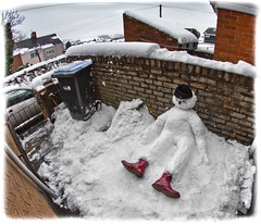 Snowman. Doc Martens. (CWhatPhotos) Tags: pictures picture that has pics with pic which photograph photographs containing images image photo photos contain what canon eos 7d snow snowman man winter wearing white cold cherry red ox blood oxblood boots 1460 dms dm dr doc martens marten 8 hole back yard sitting down airwair boot opteka manual focus fisheye fish eye lens 65mm aspherical view wide angle snowmans 1460s cwhatphotos drmartens leather bouncingsoles bouncing soles docmartens