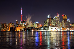 Cold Reflections (Hanzy2012) Tags: longexposure toronto reflection water skyline night cntower lakeontario innerharbour portlands polsonpier