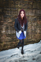 Snow is melting so it's good time to go out (maipatana) Tags: uk light red portrait snow beauty up stone wall canon hair outfit warm day durham natural 7d mm usm 1022mm outfits warming 1022 guru canonefs1022mmf3545usm f3545 efs1022mmf3545usm ootd 10223545 canon1022mm3545usm canoneos7d youtuber canon7d warming1up