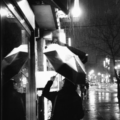 stillness and downpour in Seoul (~mimo~) Tags: street light people woman cold reflection window rain night umbrella dark photography restaurant asia korea double seoul late iphone odc mimokhair