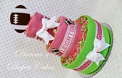 Football Baby Diaper Cake Girls Shower Centerpiece Girls (2) (Dianna's Diaper Cakes) Tags: baby diaper cakes shower centerpieces gifts boys girls neutral diannas decoration