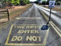 Tread Not This Way (clarkcg photography) Tags: sign trafficsign roadsign warningsign signage signs 7dwf crazytuesdaytheme trafficsignals