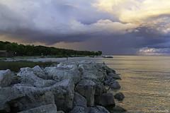 Milwaukee Beach (Nasser Bin Saud) Tags: canon 7d canon7d 24105l milwaukee wisconsin rain sea lake beach photography sunset orange ston fall cloud