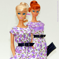 DOUBLE SWIRL 01 (marcelojacob) Tags: barbie vintage repro swirl ponytail redhair ginger kniting pretty dancing blonde marcelo jacob dress classic print janaina sonia belt fashion pearl