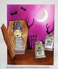 Happy Haunting | MFT (Lisa/B) Tags: mftstamps halloween frightfulfriends gravesituation spookysweets distressinks graveyard mummy tomb scary cardmaking creative handmade lbcardcreations myfavoritethings