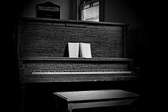 Old Time Religion (John Ilko) Tags: explore piano church methodistchurch antique churchinterior bradenton fl fujifilm monochromey 1855mm