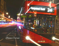 Light Trails, London Style (bonniecairns1) Tags: longexposure nightphotography night london england travelphotography travel nikon nikonphotography bus red doubledeckerbus icon classic