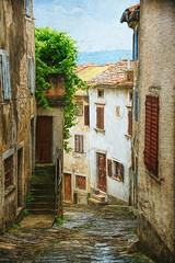 SL120616 Motovun 39 (Sh4un65_Artistry) Tags: artwork buildings city croatia croatiaholiday2016 digitalart digitalpainting events landscape painteffect paintedphoto painterly places steps streets textured topaz topazimpression topaztextureeffects