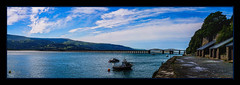 Barmouth Viaduct (Kevin, from Manchester) Tags: viaduct bridge water river mountains barmouth sky clouds panorama panoramic kevinwalker wales hdr canon1855mm architecture boats waterways railway