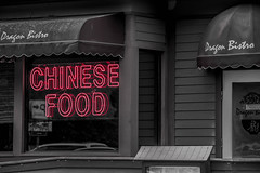 Chinese food (SSelJEFE) Tags: chinese food neon sign black white red bw color dragon bistro restaurant reflection canon 70200mm photography california cambria