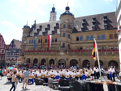 Concert in front of Town Hall (Yvonne IA) Tags: germany rothenburg tauber rothenburgobdertauber marktplatz marketplace townhall rathaus