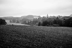 Autumn Landscape in Bavaria (mripp) Tags: landscape landschaft bavaria bayern germany deutschland art kunst view agriculture landwirtschaft kulturlandschaft cultural bayerischer wald black white mono monochrom sony a7r2 summicorn 50