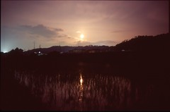 (bensn) Tags: pentax lx fa 31mm f18 limited film slide velvia 100 japan nagano field rice dark night reflection sky moon longexposure mountains water