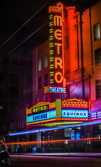 equinox at the metro (pbo31) Tags: sanfrancisco california nikon d810 color september 2016 summer boury pbo31 bayarea night dark lightstream motion roadway neon sign unionstreet cowhollow black metro theater equinoix gym red
