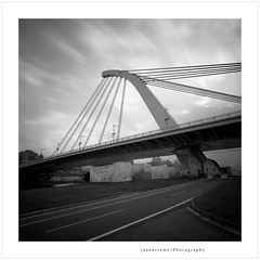 Dazhi Bridge (jasoncremephotography) Tags: bridge ilford hp5 mediumformat 120 120mm 120film analog film analogue blackandwhite monochrome hasselblad 903swc biogon zeiss selfdevelopment hc110 dilutionb taipei taiwan asia istillshootfilm longexposure nd110
