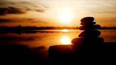stonebalance. (jankodito) Tags: sunset sun sunshine sungoesdown stone balance stonebalance lake hungary