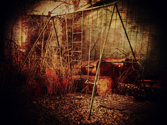 Swing Time (Dave Linscheid) Tags: old autumn usa fall texture abandoned minnesota swingset butterfield texturized tatot magicunicornverybest blinkagain bestevercompetitiongroup besteverdigitalphotography