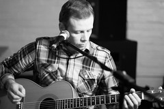 David MacPhee (Daisy Swain) Tags: portrait people blackandwhite bw musician music guitar glasgow live candid singer microphone guitarist the13thnote 13thnotecafe winterwonderjam blackboxxpromotions