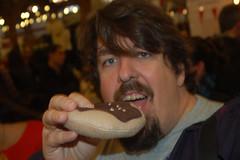 Eating the fake Donut (earthdog) Tags: sanfrancisco food d50 nikon craft nikond50 donut 2012 fakefood craftfair renegadecraftfair earthdog flickr:user=earthdog 2802000mmf3856 misohandmade