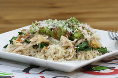 Chicken Bowl (_Hoot) Tags: chile chicken cheese recipe avocado rice bowl guacamole onion salsa kale chipotle roastedchicken brownrice redsauce cheddarcheese cotija