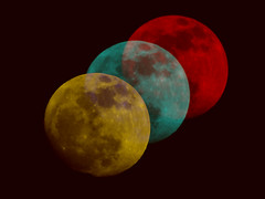 Moon (TamedYoungMind) Tags: red moon black yellow dark space cyan crater astronomy