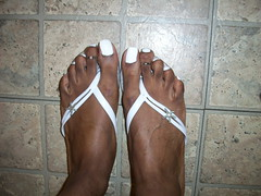 White nail polish, flip flops and cute toe rings (hyellow) Tags: white sexy feet beautiful foot nice toes long pretty unique gorgeous posing polish nails flip flops toering