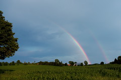 Two Pots of Gold? (1Tanker) Tags: blue summer sky cloud sunlight ontario canada tree green field clouds canon rainbow skies farm july refraction fields farms hastings rainbows dslr storms doublerainbow stormcloud stormclouds hovering 2012 hover zoomlens canonzoom potofgold flickrtoday 60d efs1585mmf3556isusm canonefs1585is trenthillsnorthumberlandontario canoneos60dofficialgroup