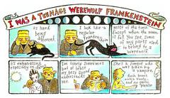 I was a Teenage Werewolf Frankenstein (pageofbats) Tags: moleskine monster werewolf illustration ink cat watercolor vampire zombie cartoon dracula frankenstein