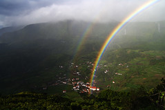Double rainbow above Fajzinha (Gregor  Samsa) Tags: flores portugal island spring rainbow village view may double atlantic vista overlook viewpoint doublerainbow miradouro archipelago azores aores portugese fajazinha fajzinha