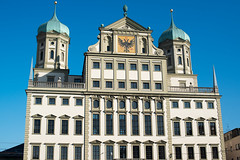 Augsburg Townhall (Rathaus) (franky242) Tags: old city travel blue sky house building tower history tourism window architecture facade germany emblem square bavaria town ancient europe coatofarms cityscape eagle outdoor capital sightseeing landmark center historic destination romantic government townhall rathaus romans augsburg headquarter schwaben rathausplatz fugger swabia augustavindelicorum