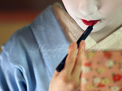 maquillage ;  (Marie Eve K.A. (Away)) Tags: portrait woman colour face japan lady female zeiss rouge kyoto bokeh f14 makeup 85mm maiko geiko geisha   gion olympuspen japon maquillage planar ep2 miyagawacho    geigi   kagai toshimana