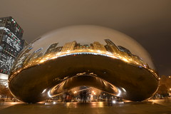 Chicago Cloud Gate (aka bean) [1776] (cl.lin) Tags: road park longexposure trip urban cloud snow chicago storm ice skyline night nikon gate skyscrapers skating bean icerink millennium rink euclid cloudgate tribune draco mccormick nikond600