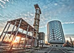 Sugarcity (Uitgebeeld.nl ** AKA ** Dan Kamminga) Tags: old blue sunset urban sun amsterdam factory pipe perspective nederland storage silo frame hdr noordholland unused halfweg suiker sugarcity
