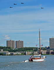 Helicopters flying over a sailboat on the Hudson River (warriorwoman531) Tags: newyorkcity sailboat military hudsonriver helicopters flyover