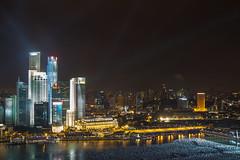 Singapore evening skyline (Shaunabananarama) Tags: city skyline night buildings evening singapore waterfront skyscrapers centralbusinessdistrict marinabay