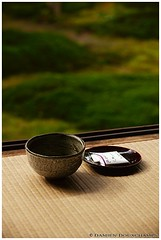 Green macha tea, Hosen-in temple () (Damien Douxchamps) Tags: japan temple moss kyoto tea traditional tranquility zen tatami   ohara  greentea kansai japon macha  wagashi   kinki      oohara hosenin mossgarden