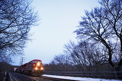 Westbound at Blue Hour (Cameron A. Photography) Tags: toronto ontario train sub north rail midtown cp freight summerhill es44