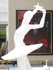 SPB Manezh Petersburg Artists exhibit (robert_m_brown_jr) Tags: ballet art statue painting stpetersburg hall christ cross russia dancer exhibit exhibition juxtaposition crucifixion artexhibit manezh  sanktpeterburg  balletdancer manezhexhibitionhall