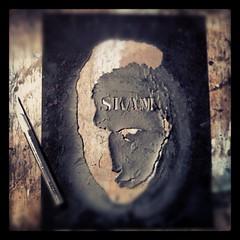 The original SKAM stencil. Still useable 5 years later. (SKAM sticker) Tags: original art oregon square portland artwork stencil sticker stickerart oldschool squareformat sutro pdx 2008 stencilart skam 2013 whatstarteditall exactoblade iphoneography instagramapp uploaded:by=instagram