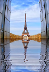 Paris (AO-photos) Tags: paris reflection water architecture mirror eiffeltower reflet toureiffel